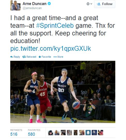 Arne Duncan Tweet After 2014 NBA All-Star  Celebrity Game