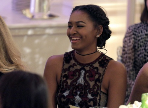 Sasha Obama attends her first State Dinner in honor of Prime Minister of Canada Justin Trudeau and his wife Sophie Gregoire Trudeau at the White House